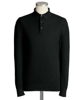 Ermenegildo Zegna Long-Sleeve Cashmere-Silk Polo
