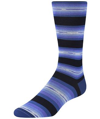 Bugatchi Striped Cotton-Blend Socks