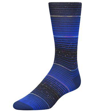 Bugatchi Speckled Striped Cotton-Blend Socks