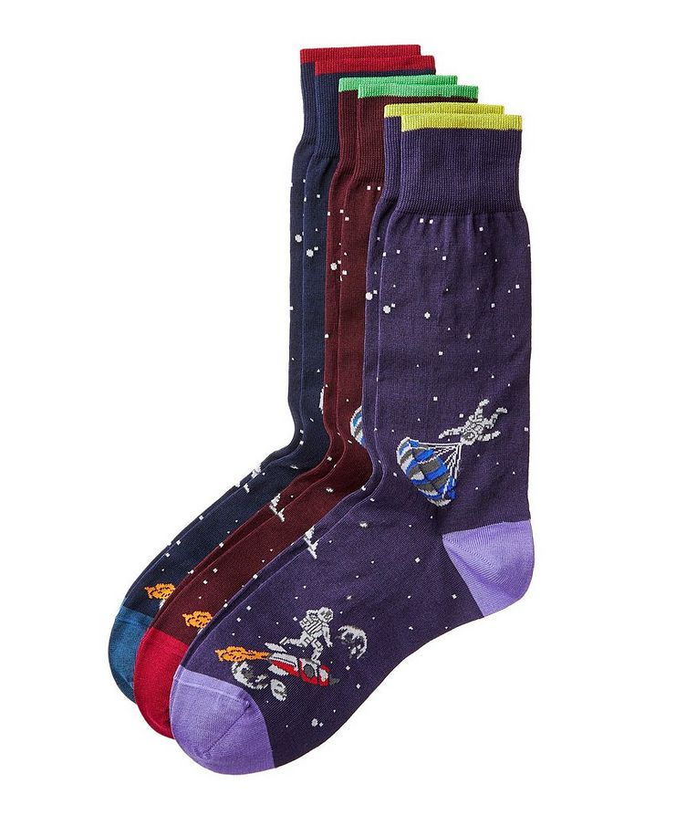 Three-Pack Printed Cotton Socks image 0