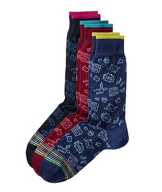 Bugatchi Three-Pack Printed Cotton Socks