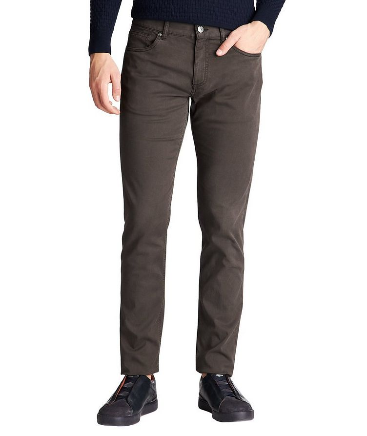 Straight Fit Stretch-Cotton Pants image 0