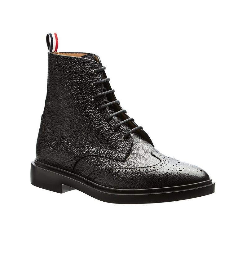 Wingtip Pebbled Leather Boots image 0