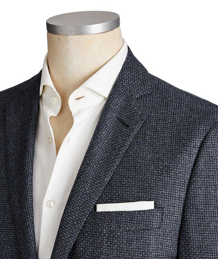 Unstructured Micro-Checked Wool Sports Jacket image 1