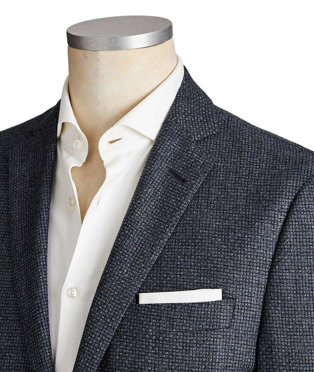 Unstructured Micro-Checked Wool Sports Jacket picture 2
