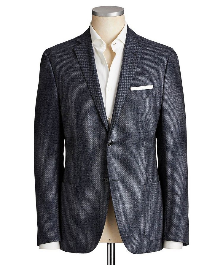 Unstructured Micro-Checked Wool Sports Jacket image 0