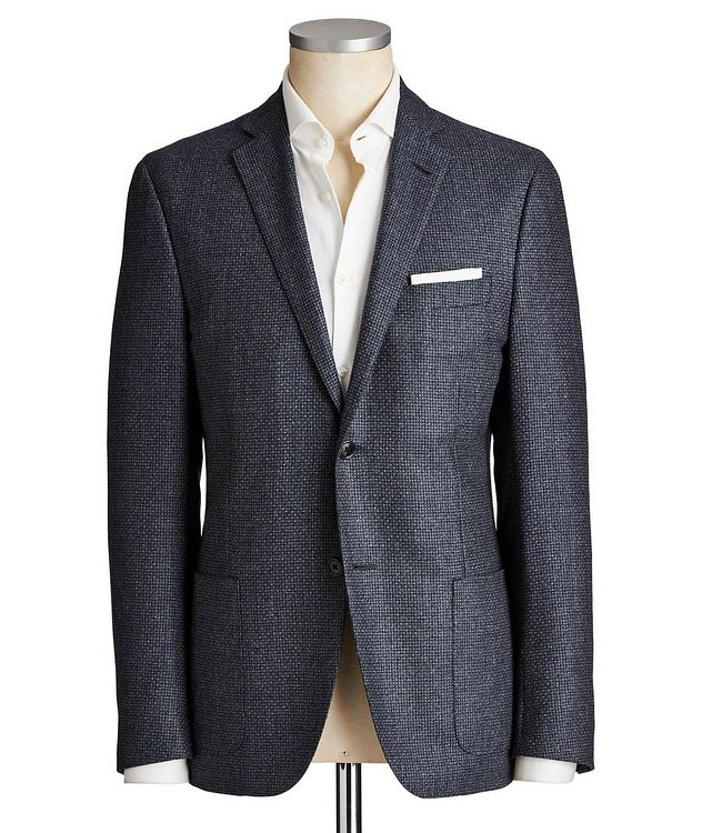 Unstructured Micro-Checked Wool Sports Jacket picture 1