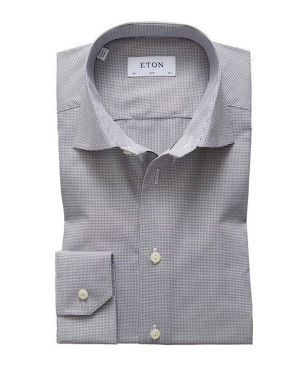 Slim Fit Mini-Checked Dress Shirt picture 1