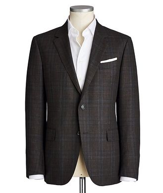 Ermenegildo Zegna Milano Easy Checked Wool, Cashmere, Silk & Linen Sports Jacket
