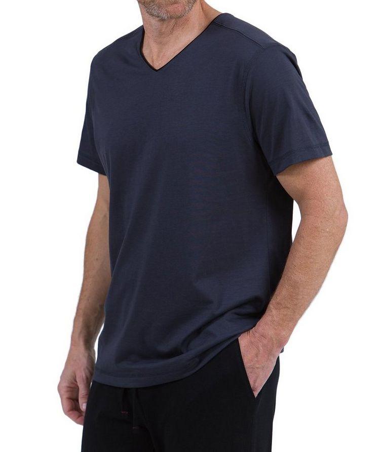 T-shirt en coton pima à encolure en V image 0