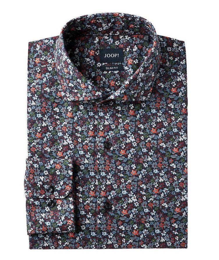 Slim Fit Botanical-Printed Dress Shirt image 0