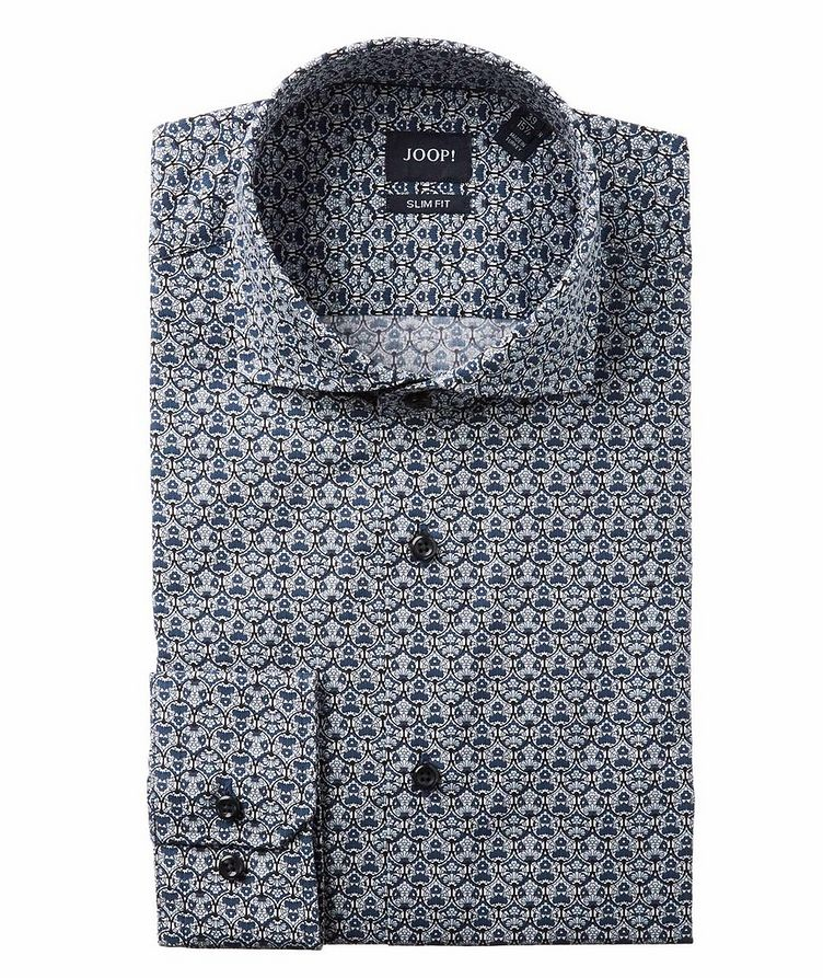 Slim Fit Damask-Printed Dress Shirt image 0
