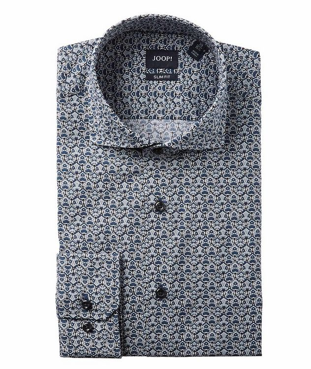 Slim Fit Damask-Printed Dress Shirt picture 1