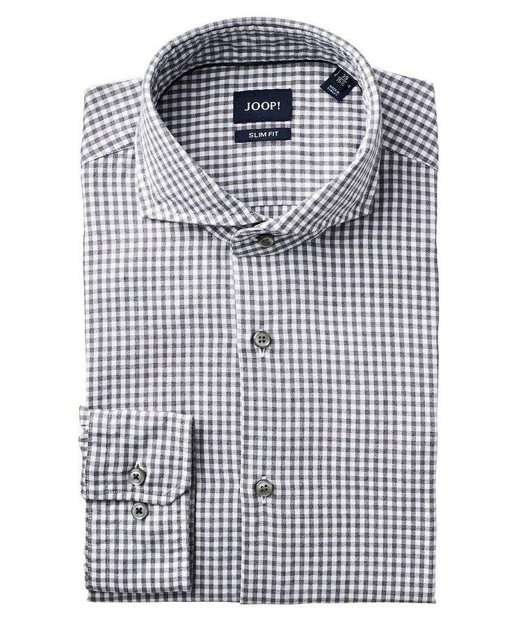 Slim Fit Gingham-Printed Dress Shirt image 0