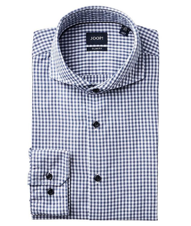 Slim Fit Gingham-Printed Dress Shirt picture 1