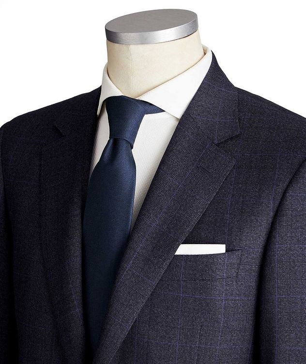 Contemporary Fit Windowpane Wool Suit picture 2