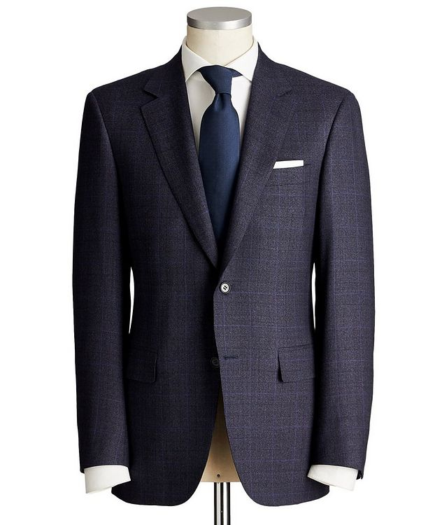 Contemporary Fit Windowpane Wool Suit picture 1