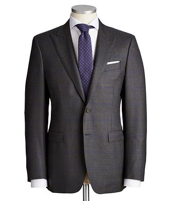 Canali Contemporary Fit Windowpane-Check Wool Suit