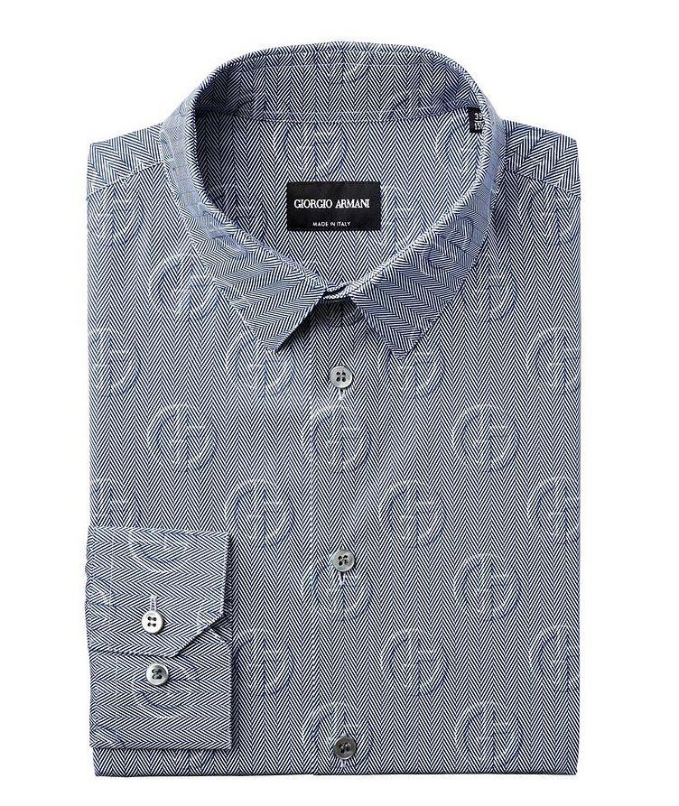 Herringbone & Logo Printed Cotton Shirt image 0