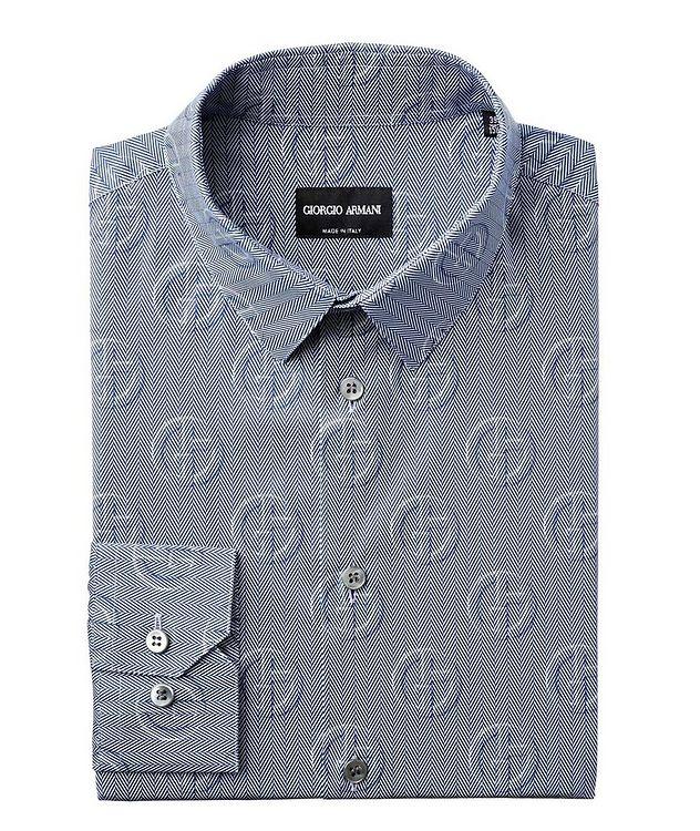 Herringbone & Logo Printed Cotton Shirt picture 1