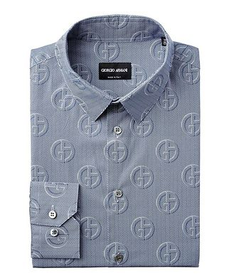 Giorgio Armani Herringbone & Logo Printed Cotton Shirt