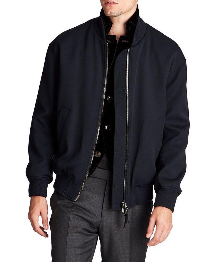 Stretch-Wool Bomber Jacket image 0