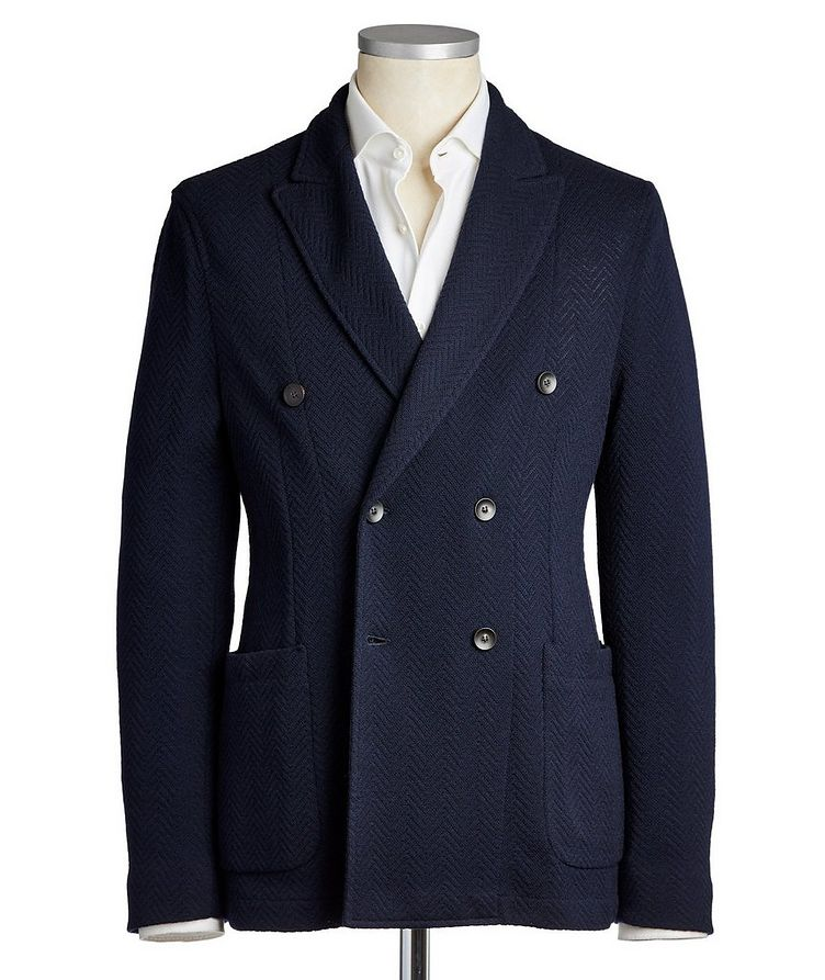 Double-Breasted Wool-Cotton Sports Jacket image 0