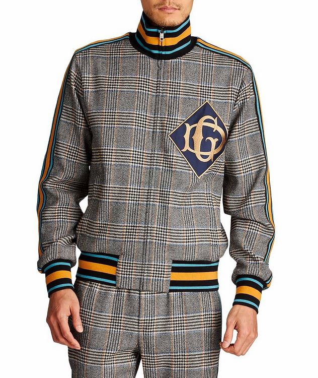 Zip-Up Tartan Wool-Cashmere Sweatshirt picture 1