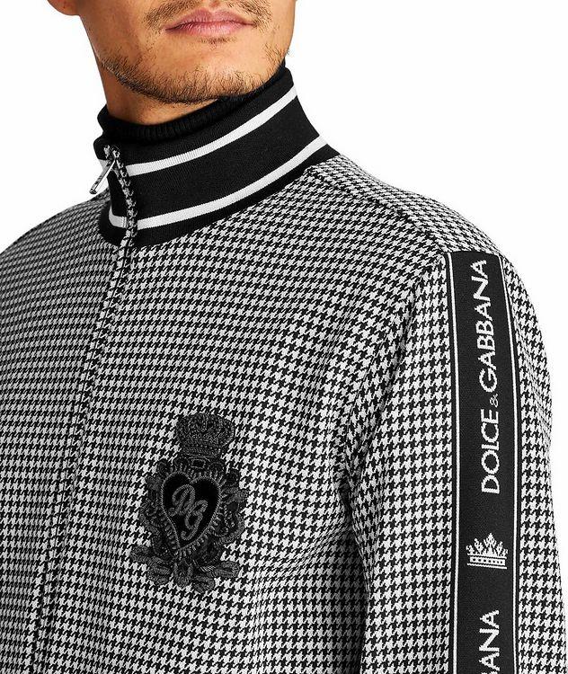 Zip-Up Houndstooth Cotton-Blend Sweatshirt picture 3
