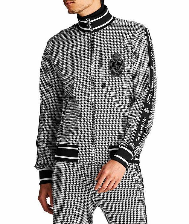 Zip-Up Houndstooth Cotton-Blend Sweatshirt picture 1