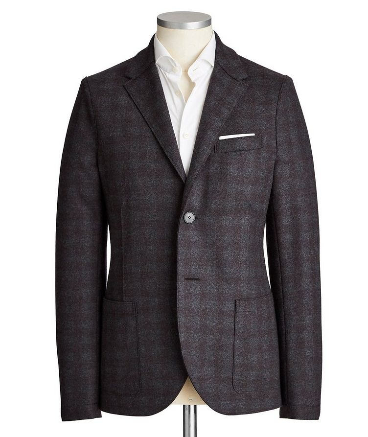 Unstructured Checked Wool Sports Jacket image 0