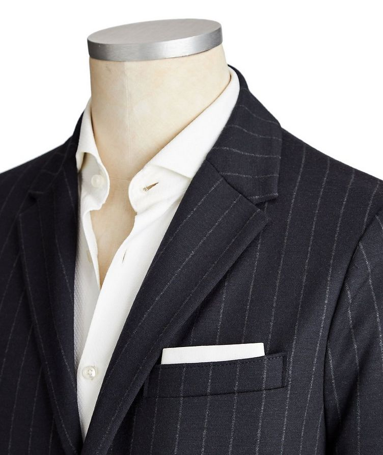Unstructured Pinstriped Wool Sports Jacket image 1