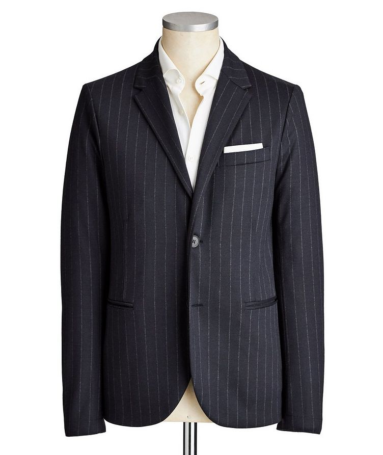 Unstructured Pinstriped Wool Sports Jacket image 0