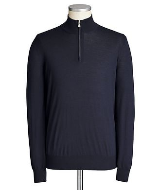 Brunello Cucinelli Half-Zip Wool-Cashmere Sweater