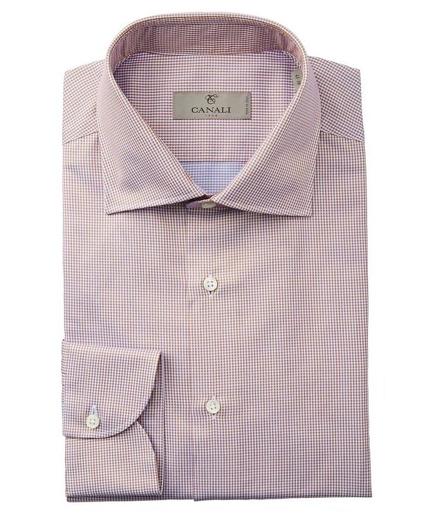 Slim Fit Gingham-Printed Cotton Dress Shirt picture 1