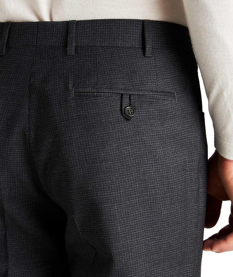Slim Fit Checked Wool Dress Pants image 2