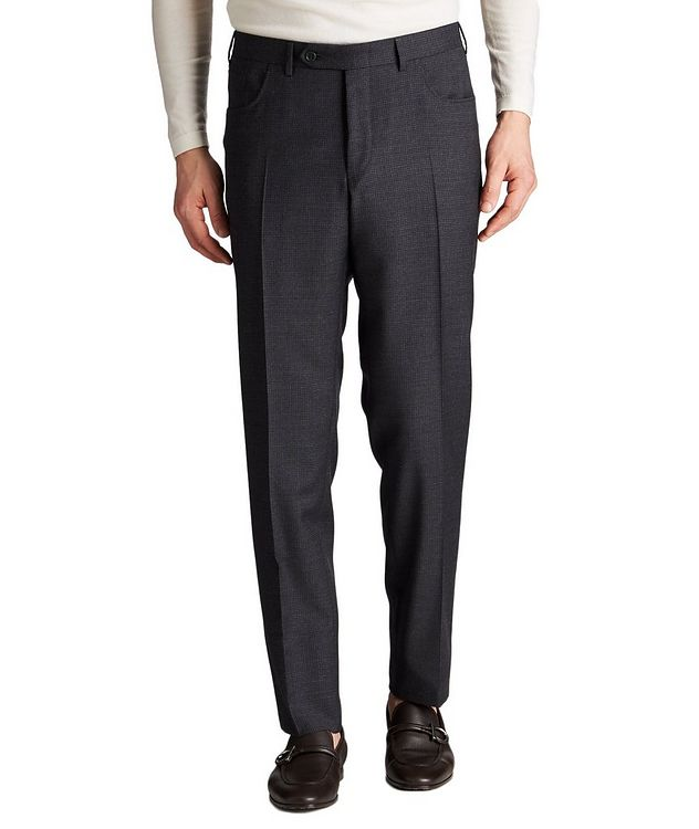 Slim Fit Checked Wool Dress Pants picture 1