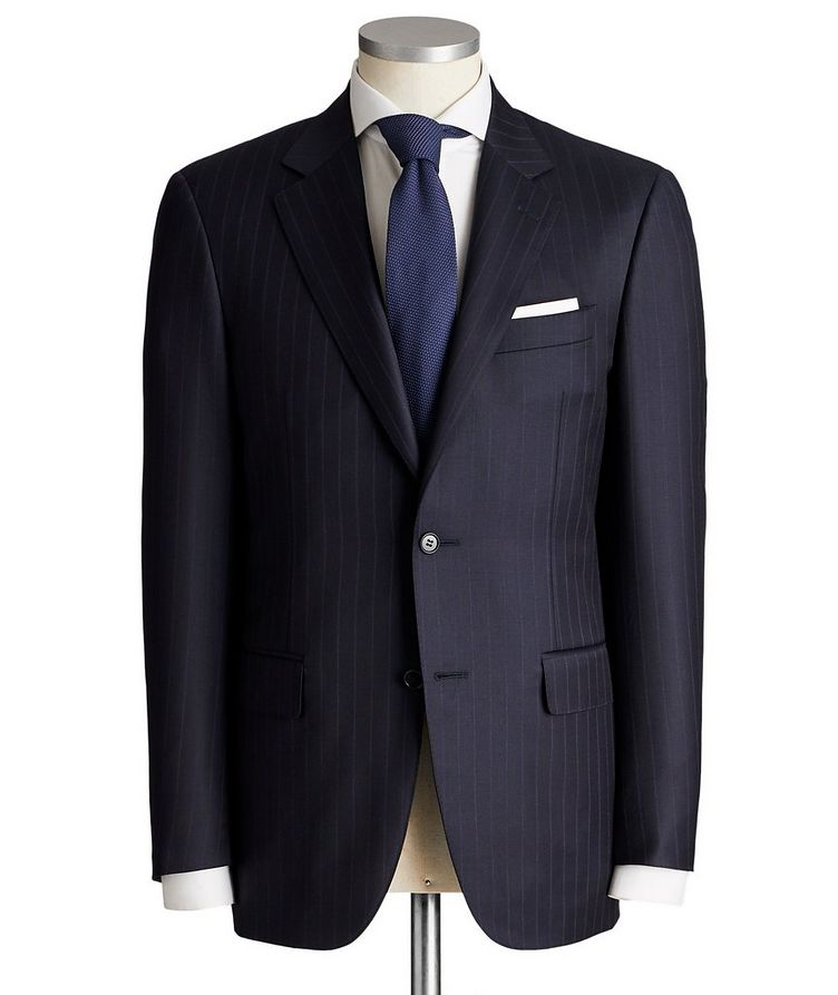 Contemporary Fit Pinstripe Wool Suit image 0