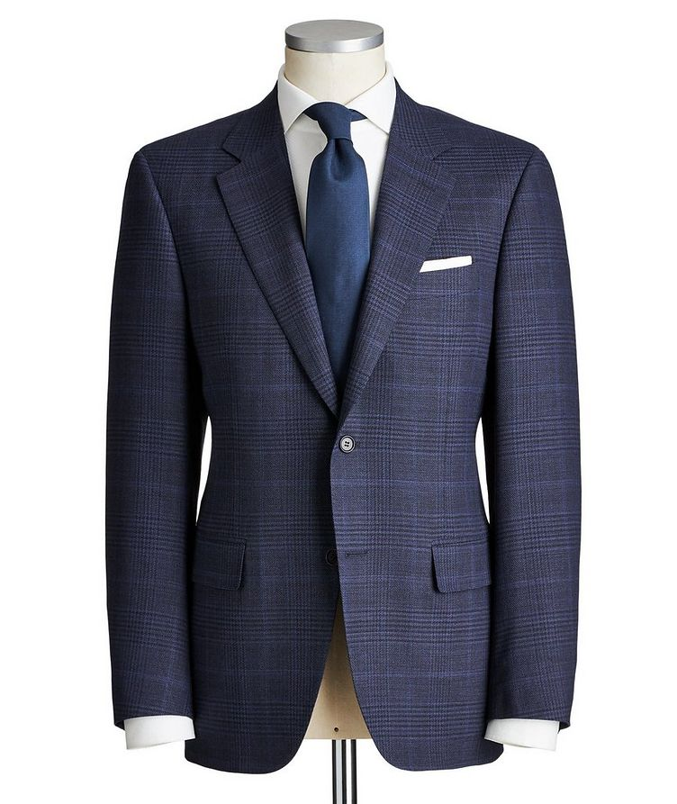 Impeccabile Contemporary Fit Checked Wool Suit image 0
