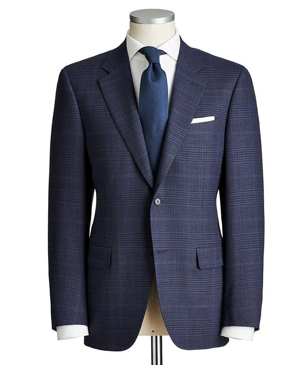 Impeccabile Contemporary Fit Checked Wool Suit picture 1