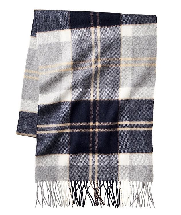 Fringed Tartan Cashmere Scarf picture 1
