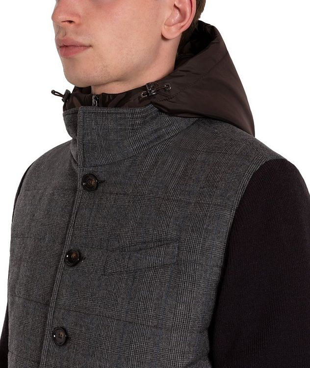 Glen-Checked Hooded Swacket picture 4
