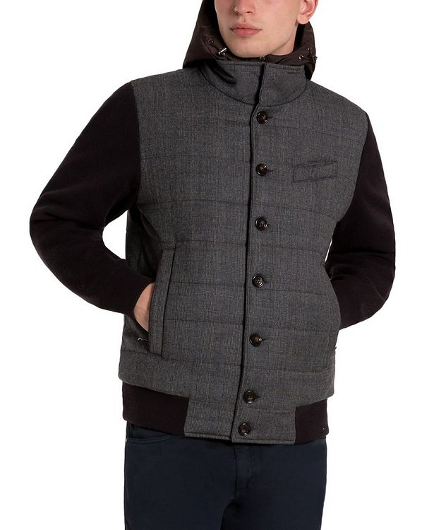 Glen-Checked Hooded Swacket picture 1