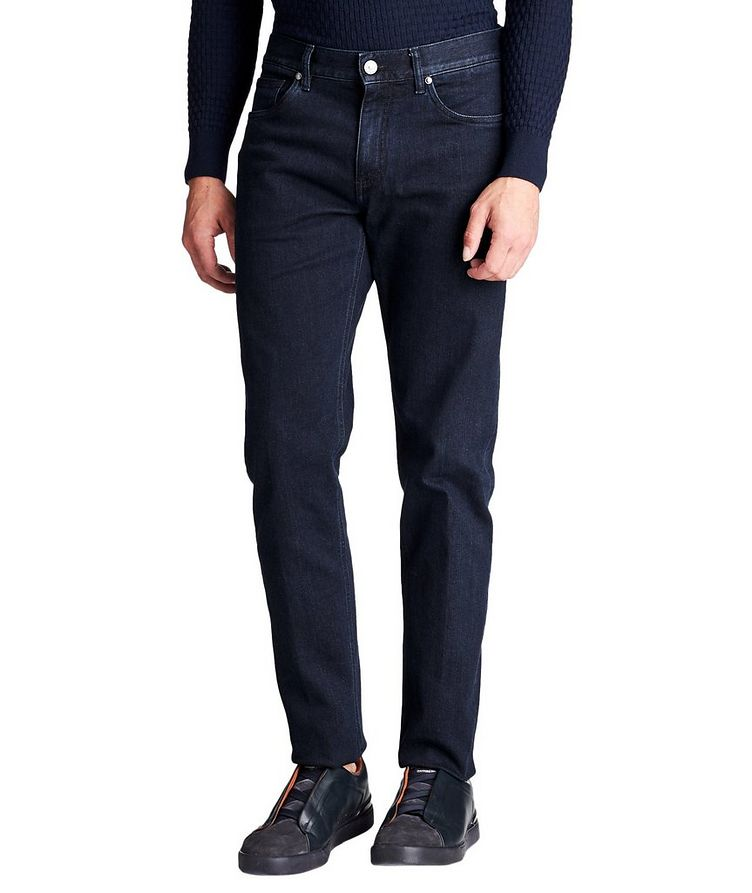 Tailored Fit Stretch Cotton Jeans image 0
