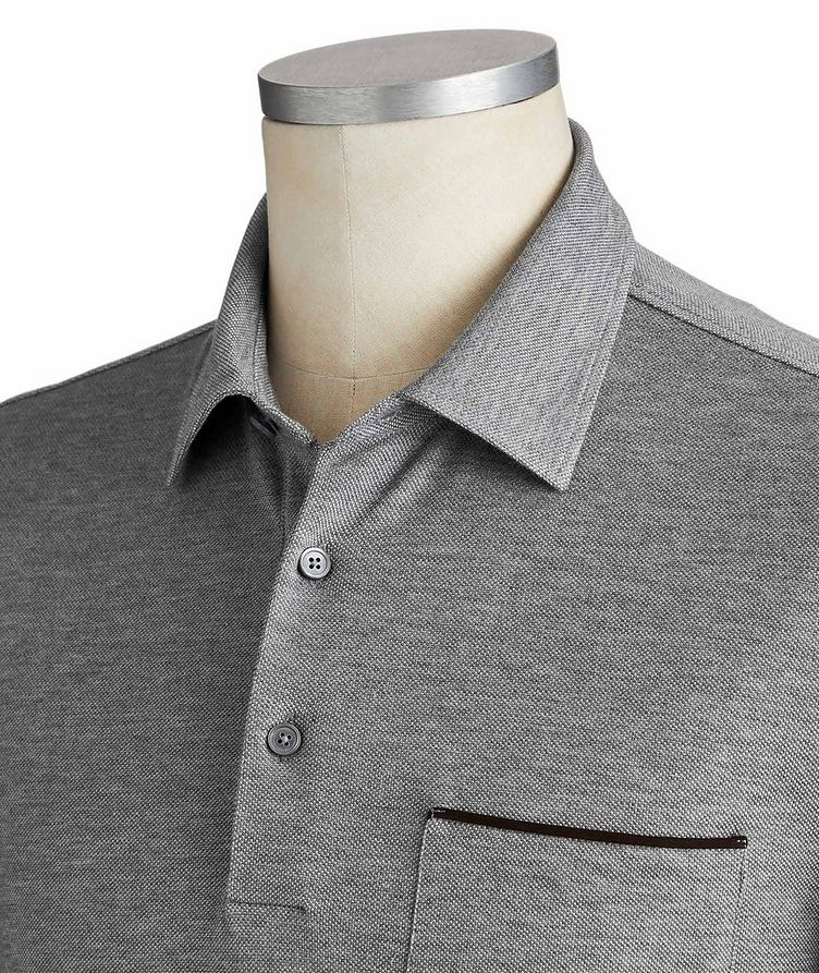Long-Sleeve Cotton Polo image 1