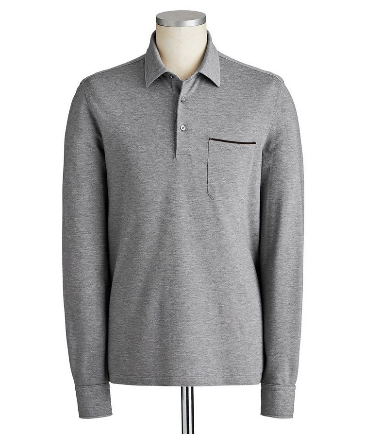 Long-Sleeve Cotton Polo image 0