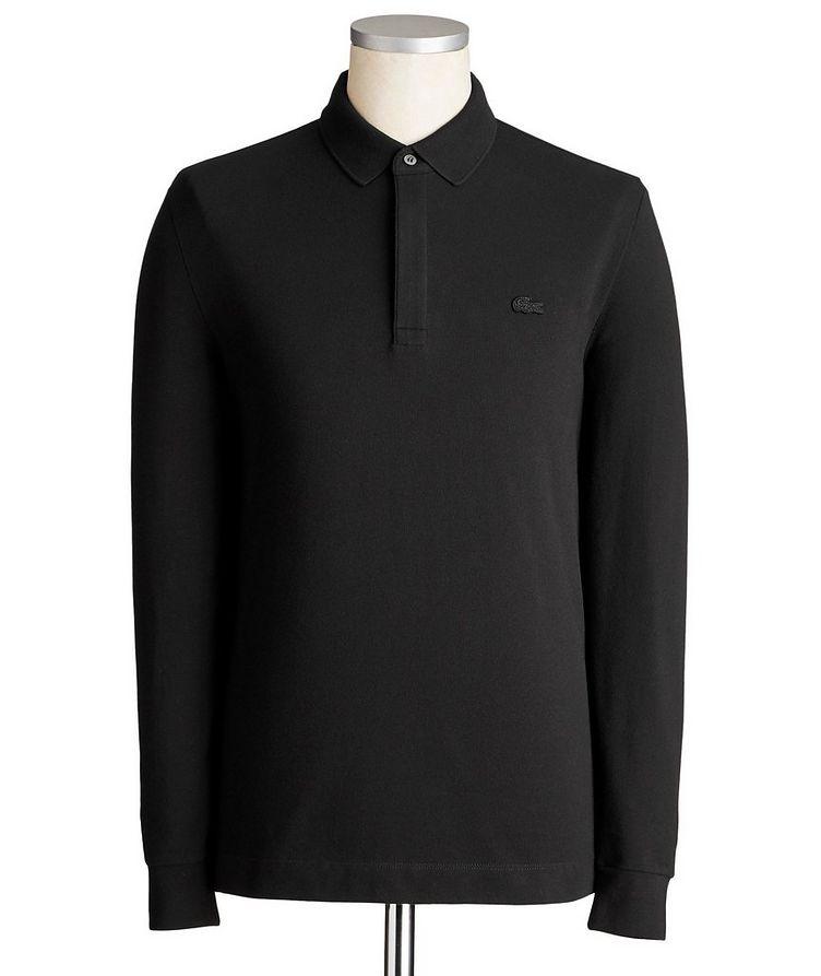 Long-Sleeve Stretch-Cotton Piqué Polo image 0