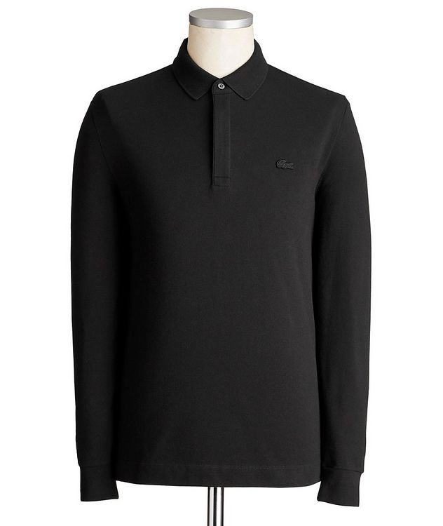 Long-Sleeve Stretch-Cotton Piqué Polo picture 1
