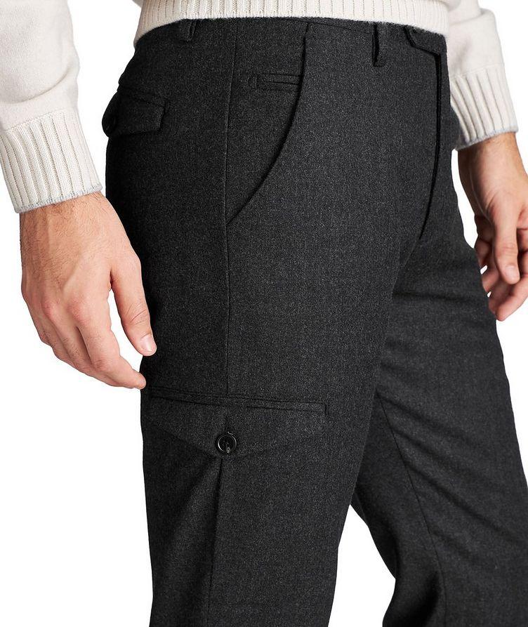 Pantalon habillé en laine à poches cargo image 2