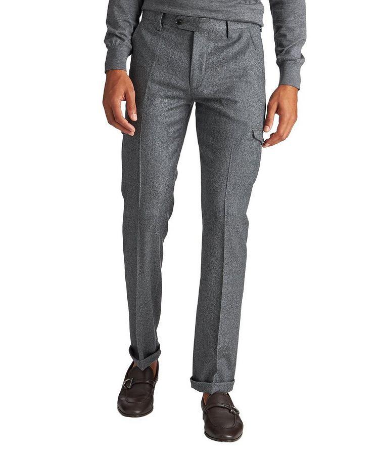 Pantalon habillé en laine à poches cargo image 0